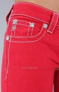 Miss Me Jeans Lady in Red Crystal Fleur Denim Skinny JP5465S2 Sz 25 31
