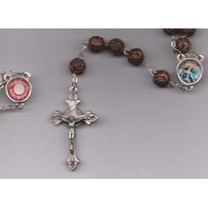 St Saint Rita Brown Relic Rosary with Holy Prayer Card, Velour Bag and