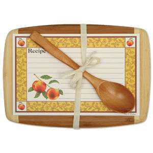 PEACHY GIFT SET Cutting Board Recipe Cards Wooden Spoon