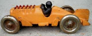 OLD CAST IRON HUBLEY RACER RACING CAR TOY WITH SHOOTING FLAMES OUT OF