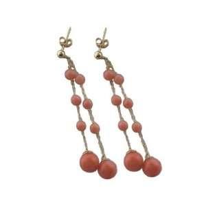 Coral Bubble Drop Earrings, 14k Gold Jewelry