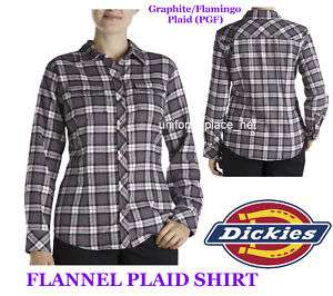 Dickies Women Lady FLANNEL PLAID Shirt Top PGF XS   2XL