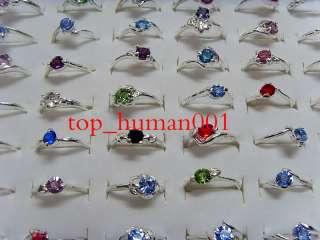 Fashion Mixed Lots 50pcs crystal rhinestone Ladys colorful Rings