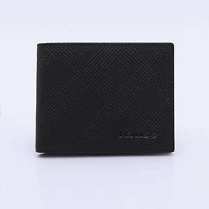 Mens horizontal genuine leather wallet purse IGuse IA1002 BLACK/BROWN