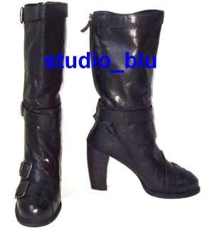 ANNA SUI Black Leather Buckle Biker Platform Boots 39 9