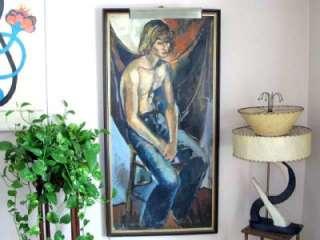 1960s Framed Acrylic Painting Teen Boy in Denim Jeans Portrait