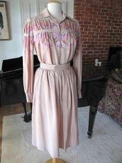 TED LAPIDUS 60s BOUTIQUE HAUTE COUTURE 2 PC SILK DRESS