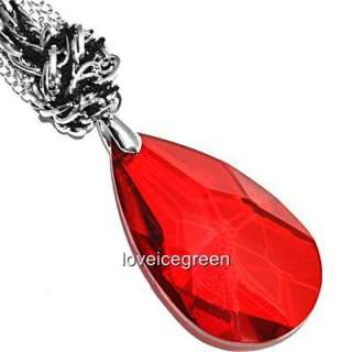 Red Teardrop Crystal Glass Pendant Braided Necklace