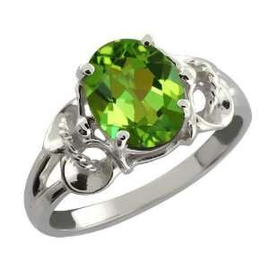 2.30 Ct Oval Envy Green Mystic Quartz 14k White Gold Ring