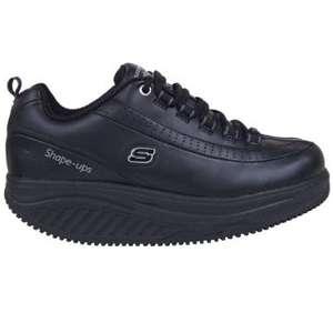 LADIES SKECHERS SHAPE UPS BLACK FITNESS SNEAKERS WALKING SHOES 6.5