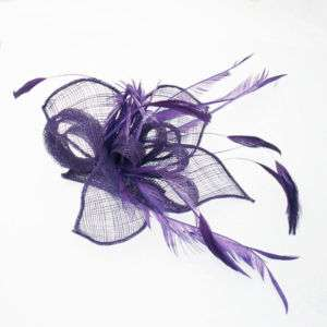 Sinamay Feather Hair Fascinator Race Party Black Purple