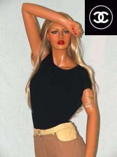 CHANEL Leather & Denim Khaki Pants w/ Black Shirt Sz 14