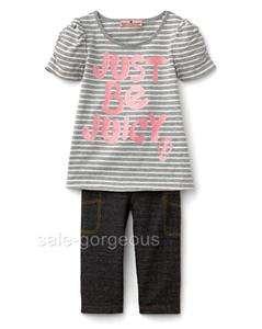 Juicy Couture Baby Girls Striped Tee & Denim Legging Set 12   18 M