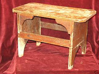 PRIMITIVE PINE PAINTED COUNTRY STOOL BENCH PLANT STAND