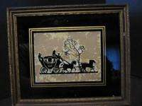 Old Silhouette Framed TALLY HO Ducray Carriage Horse Reverse Painted