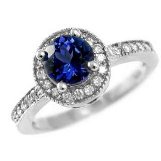 20ct AAA BLUE CEYLON SAPPHIRE & DIAMONDS ENGAGEMENT RING 14k WHITE