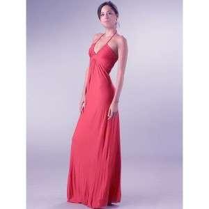 NWT T Bags Hot Pink Jersey Classic V Halter Maxi Dress Medium