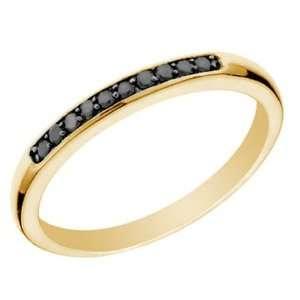 1/10 CT Black Diamond Wedding Band 14K Yellow Gold In Size