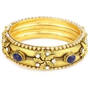 Taara Praiano 22k Gold Plated Crystal, Pearl and Blue Resin Bangle