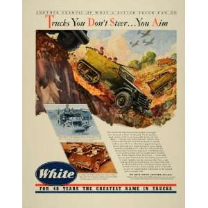 1941 Ad White Scout Car Half Track Armored Army Vehicle