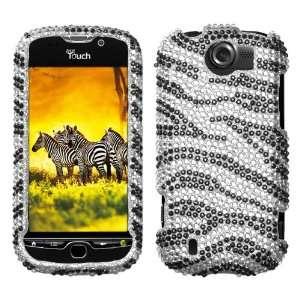 HTC myTouch 4G Slide Tmobile Black Zebra Skin Full Diamond