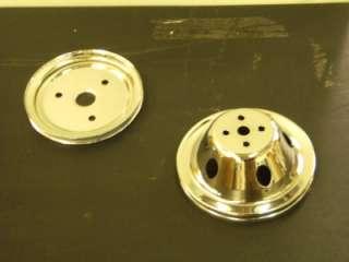 GROOVE SHORT WATER PUMP CRANKSHAFT CHROME PULLEYS SWP SBC