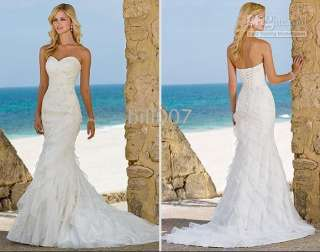 Beach Mermaid Organza Sweetheart Wedding Dresses Bridal Bridesmaid