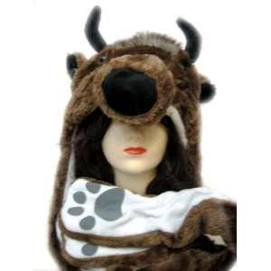 Plush Buffalo Animal Hat   Buffalo Hat with Ear Flaps and