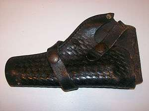 TOOLED LEATHER GUN PISTOL HOLSTER BRAUER BROS. MFG POLICE HE19