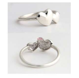 Little Cute Romantic Double Heart Ring For Lady Girl