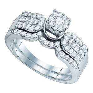 64ct Diamond Wedding set 2pc Engagement Ring + band White Gold 10K