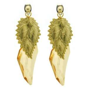 Swarovski Crystal Double Gold Leaf Earrings Jewelry