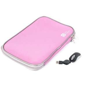 DURAGADGET Pink 16 Neoprene Laptop Zip Case With USB Mini Mouse (Fits