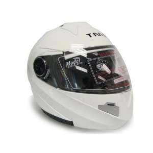 White Dual Visor Modular Motorcycle Flip Up Helmet DOT