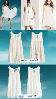 J120 WOMENS WHITE CHIFFON Layered Tiered SUN DRESS NWT