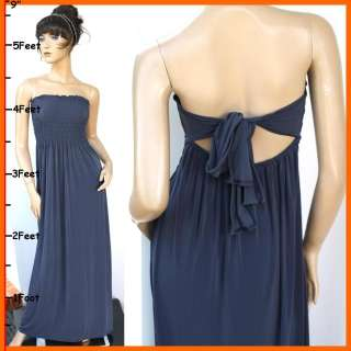 NEW Gray Bow Tie Strapless Summer Sexy Ladies Long Maxi Dress