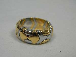 BVLGARI Bulgari 18K Gold Stainless Steel Ring SIZE 6 Box & Papers