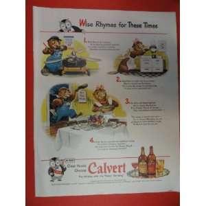 Calvert Whiskey, Print Ad. Orinigal 1943 Vintage Collier,s Magazine ad