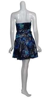 NICOLE MILLER Metallic Print Strapless Eve Dress 8 NEW