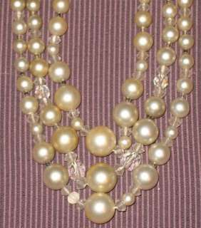 Vintage 3 Multi Strand 1950s Faux PEARL + Crystal NECKLACE