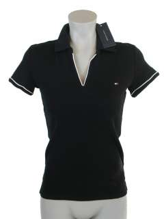 HILFIGER WOMENS REGULAR FIT SOLID COLOR BUTTONLESS POLO SHIRT