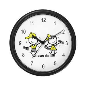 Exercise Yellow   Boy Girl Sports Wall Clock by