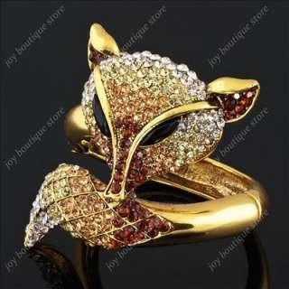 Huge Fox Animal brown Swarovski Crystal fashion jewelry gold Bracelet
