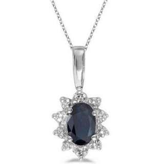Blue Sapphire & Diamond Flower Shaped Pendant 14k W Gld