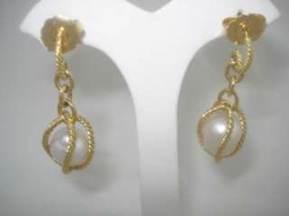 DAVID YURMAN CAGED LARGE PEARL ALL 18K GOLD EARRINGS