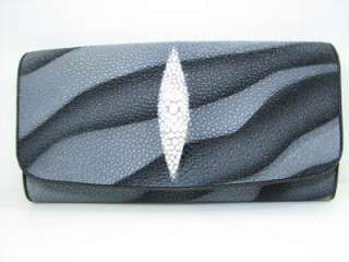 Genuine Stingray Leather Black Wave Clutch Purse Wallet