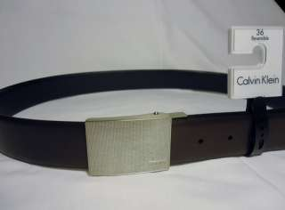 New $45 CALVIN KLEIN MENS REVERSIBLE LEATHER BELT Textured plaque