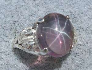 11X9MM PURPLE LINDY LINDE STAR SAPPHIRE CREATED SS RING