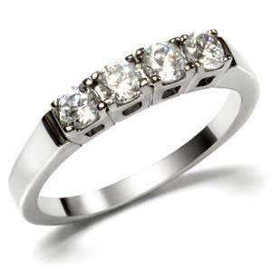 4 Round Cut Stainless Steel CZ Wedding Ring Jewelry