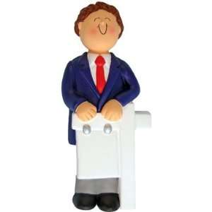 Male with Brown Hair Realtor Christmas Ornament Sports